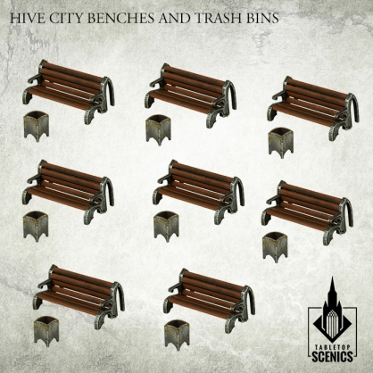 Hive City Benches & Trash Bins